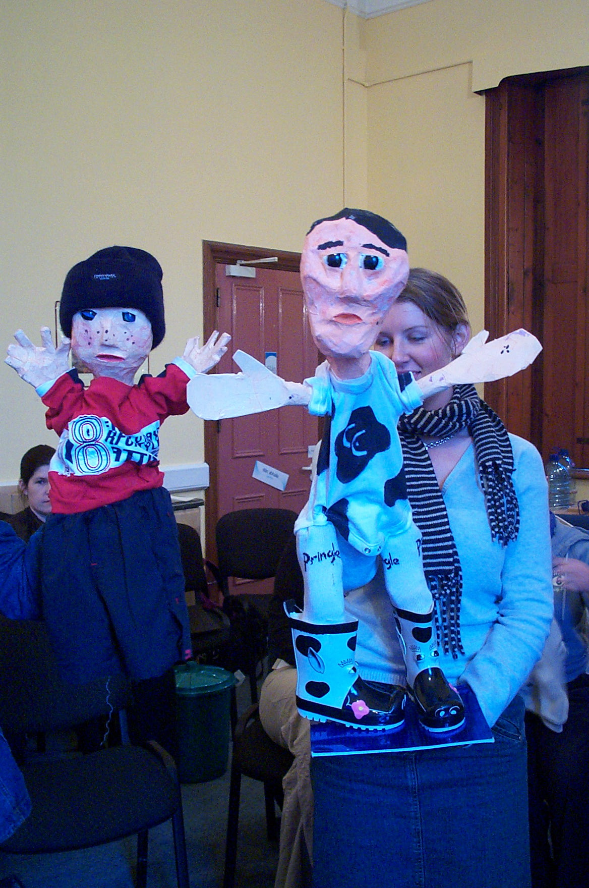 Charlie and Commander Cow puppets by trainee primary school teachers in Marino Institute of Education
