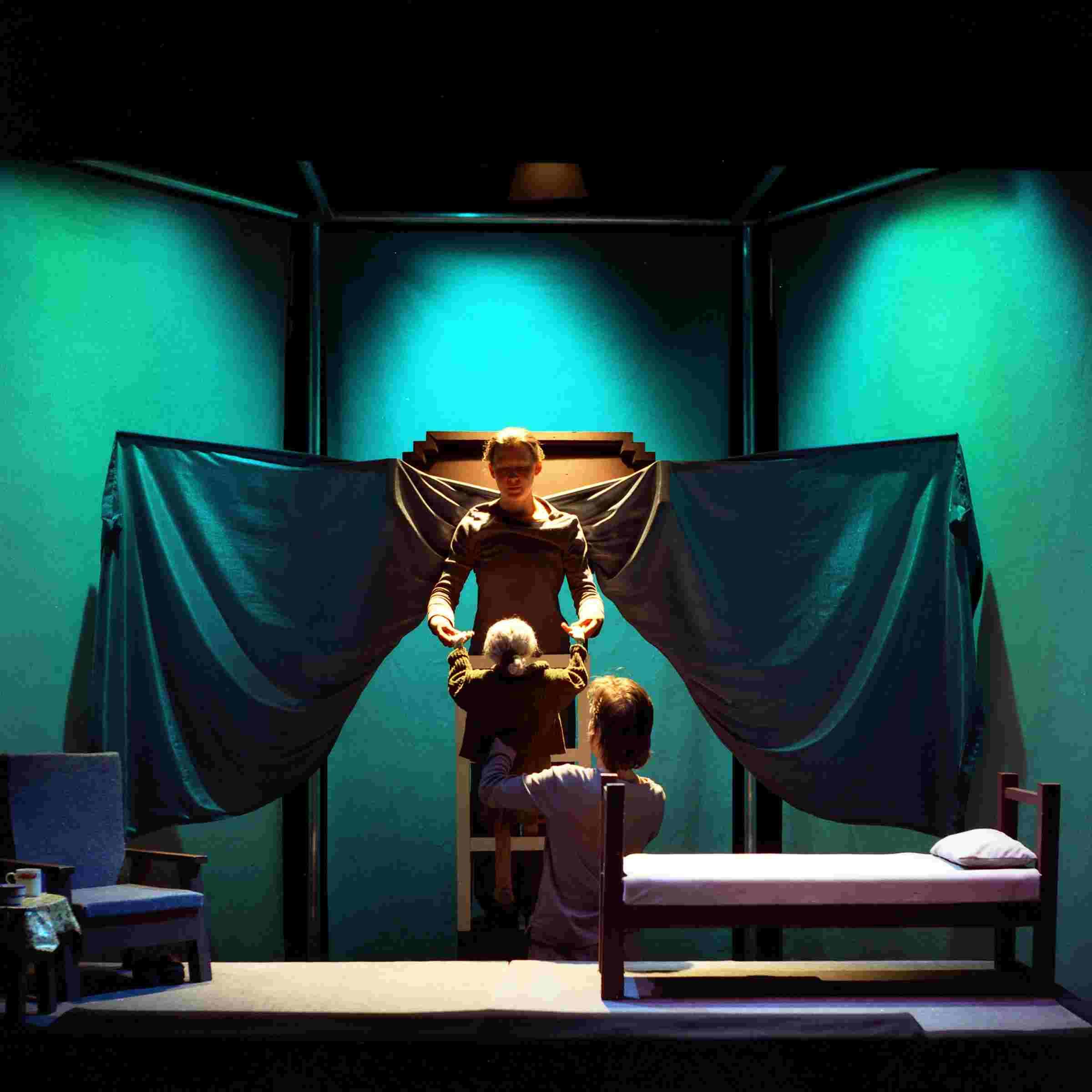 Mary Mary\'s Last Dance 2001: Last Scene. Photographer Ros Kavanagh. Lighting Design Nick Mc Call. Featuring Niamh Lawlor and Helene Hugel