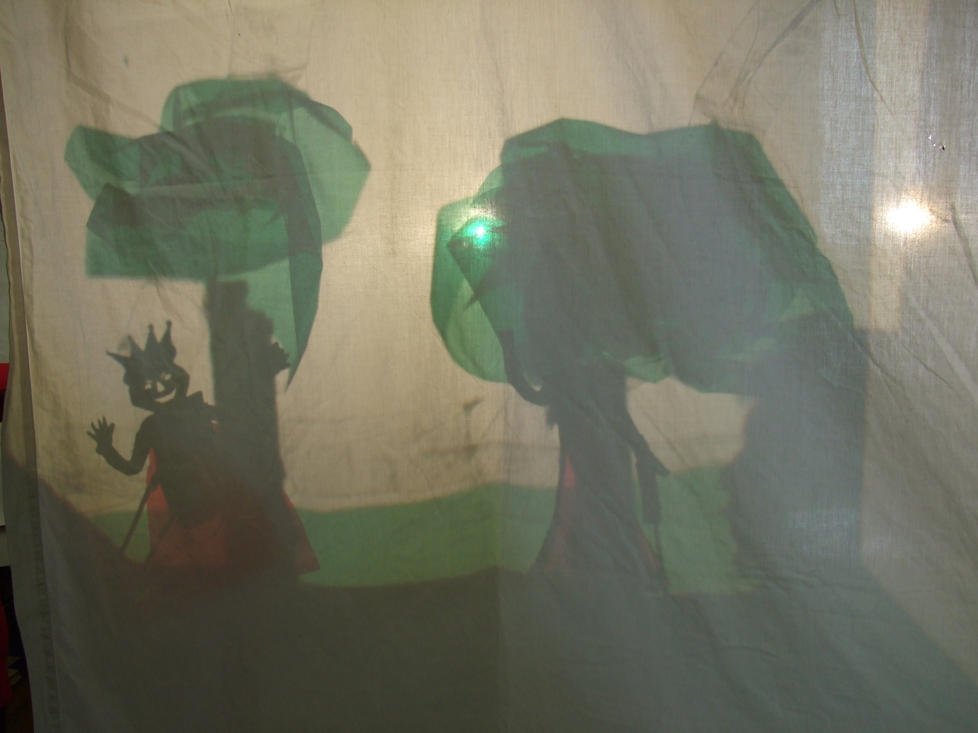 Shadow Puppet set on overhead projector from Dublin City Council\'s Children\'s Art In Libraries Programme, Drumcondra.